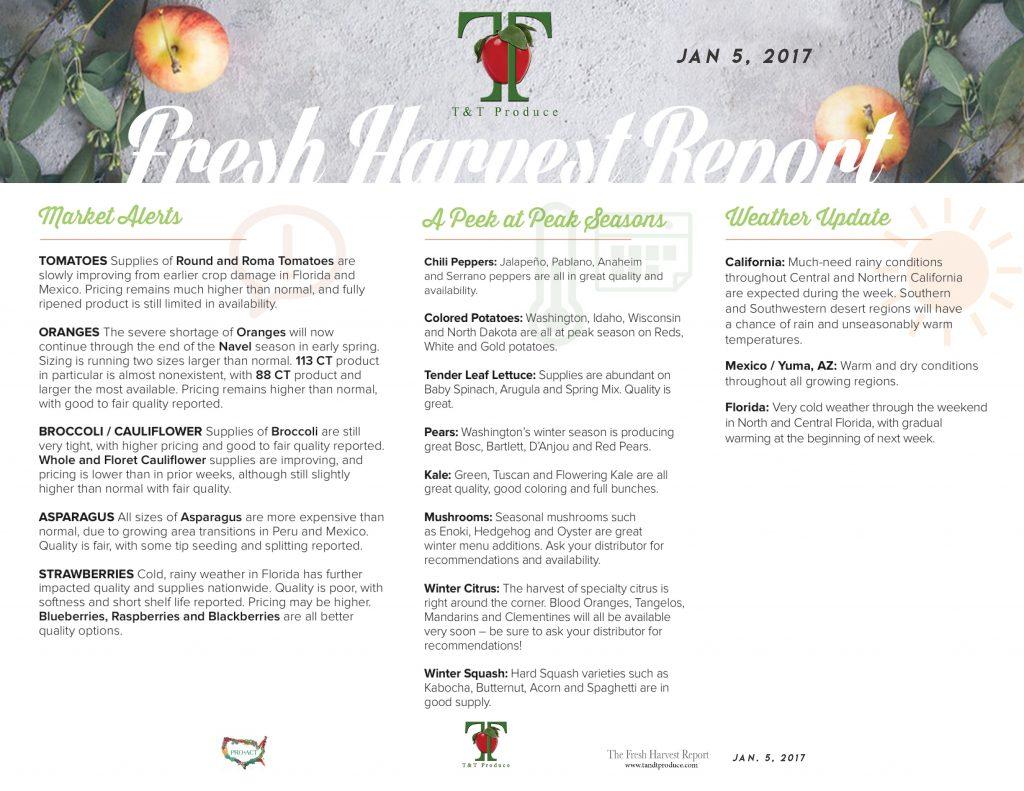 1/5/18 Fresh Harvest Report