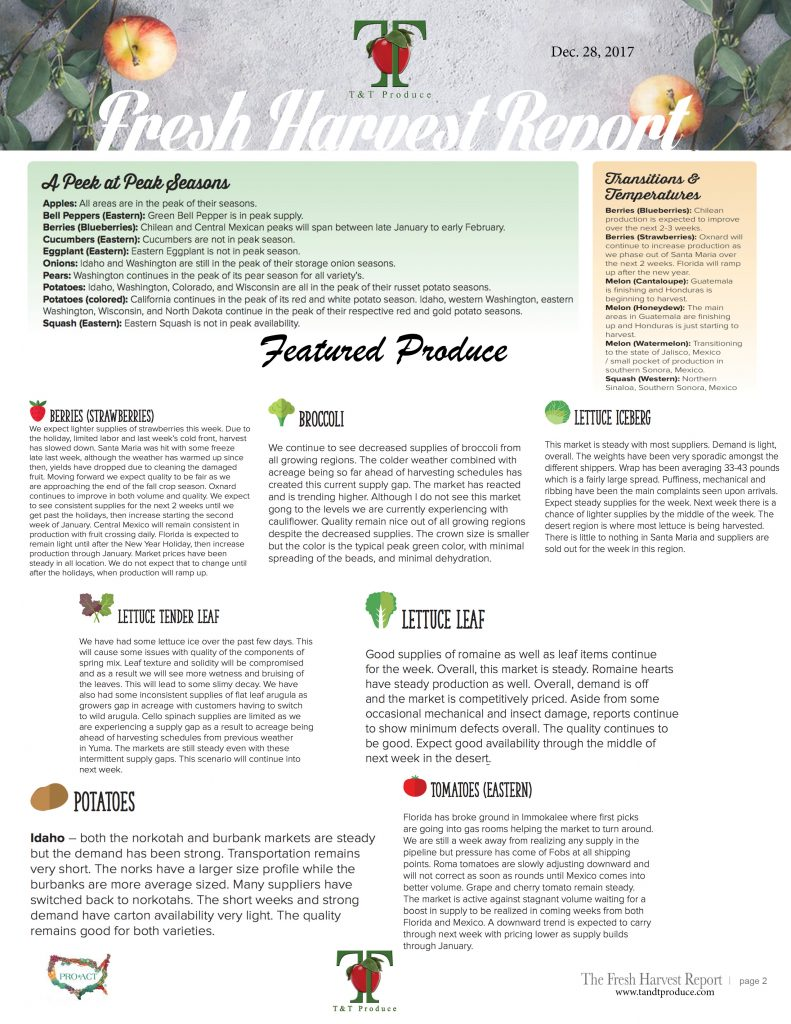 12/28/17 Fresh Harvest Report