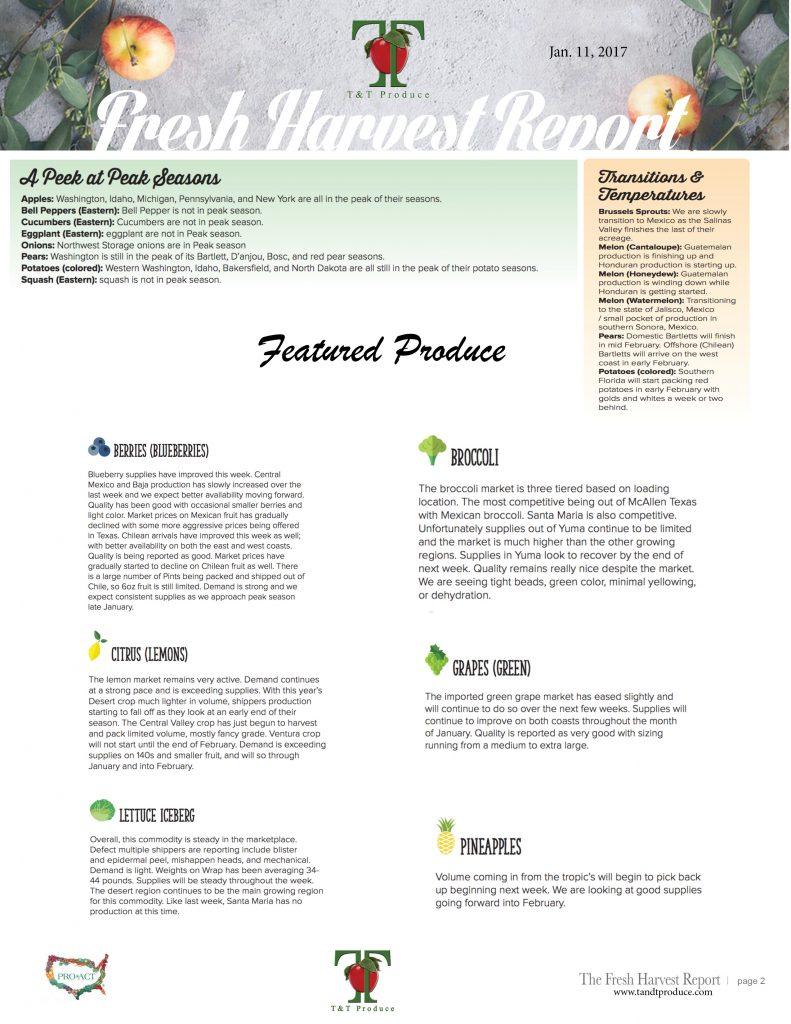 1/11/18 Fresh Harvest Report