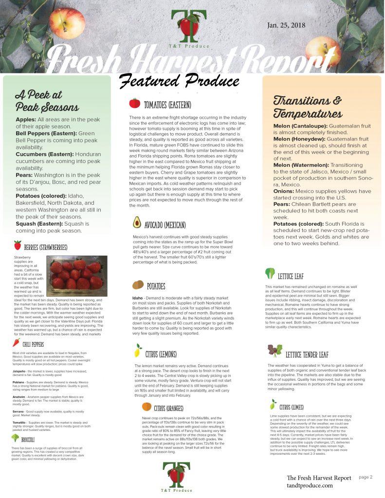 1/25/18 Fresh Harvest Report