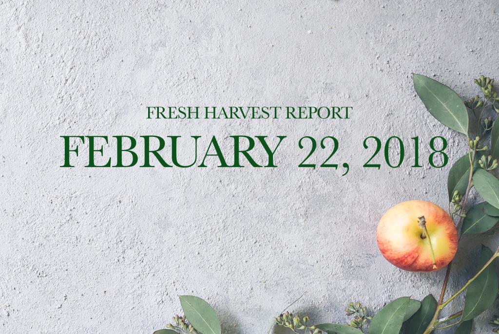 2/22/18 Fresh Harvest Report