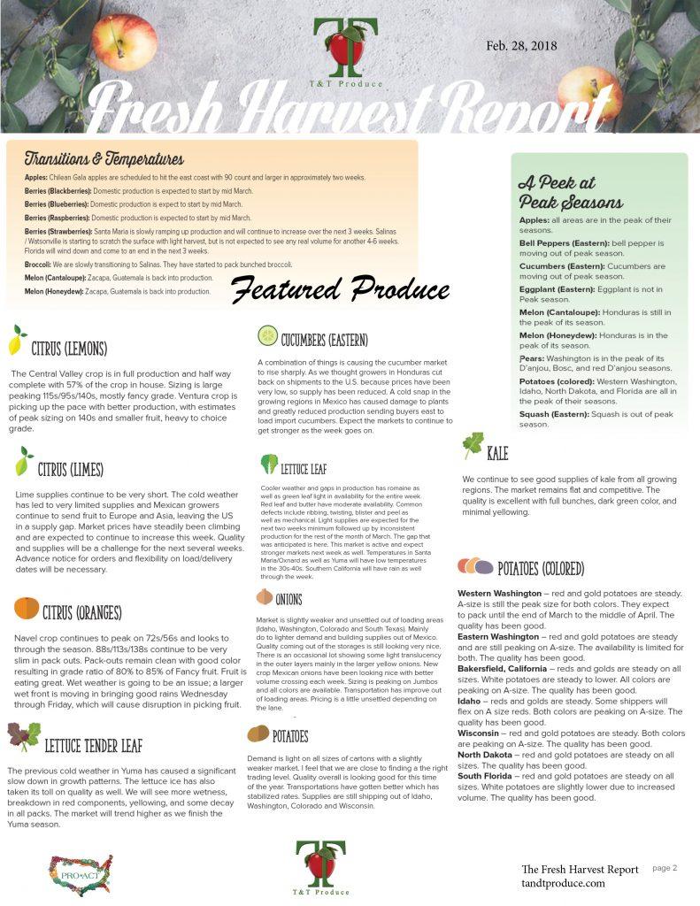 2/28/18 Fresh Harvest Report