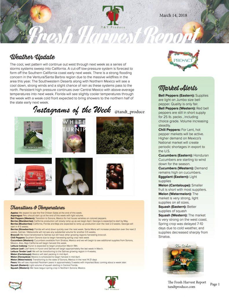 3/14/18 Fresh Harvest Report