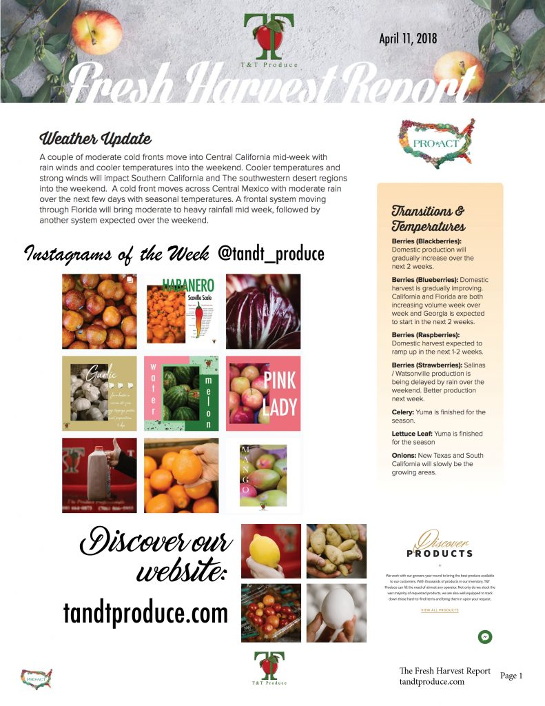 4/11/18 Fresh Harvest Report