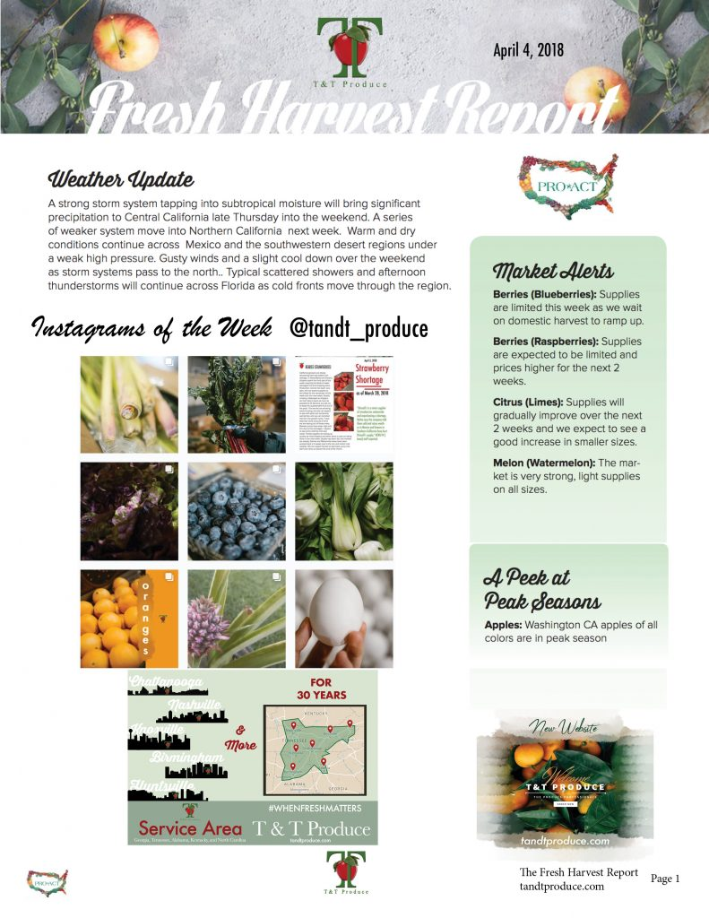 4/4/18 Fresh Harvest Report