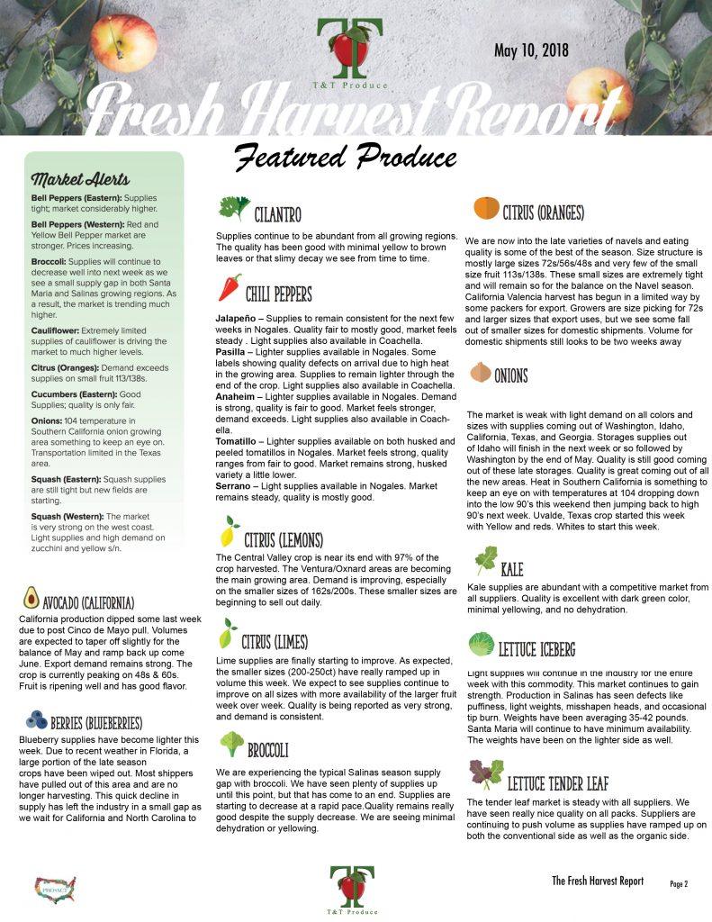 5/10/18 Fresh Harvest Report