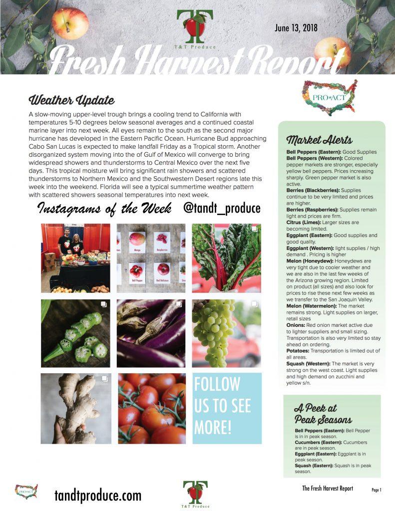 6/13/18 Fresh Harvest Report