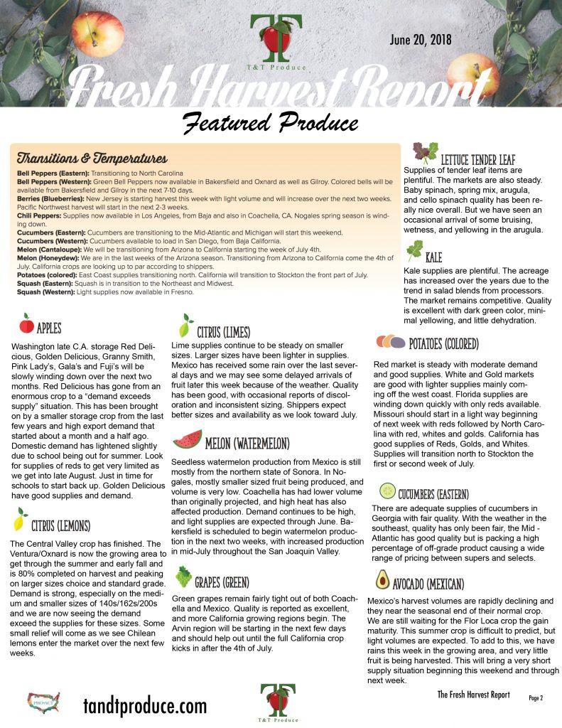 6/20/18 Fresh Harvest Report