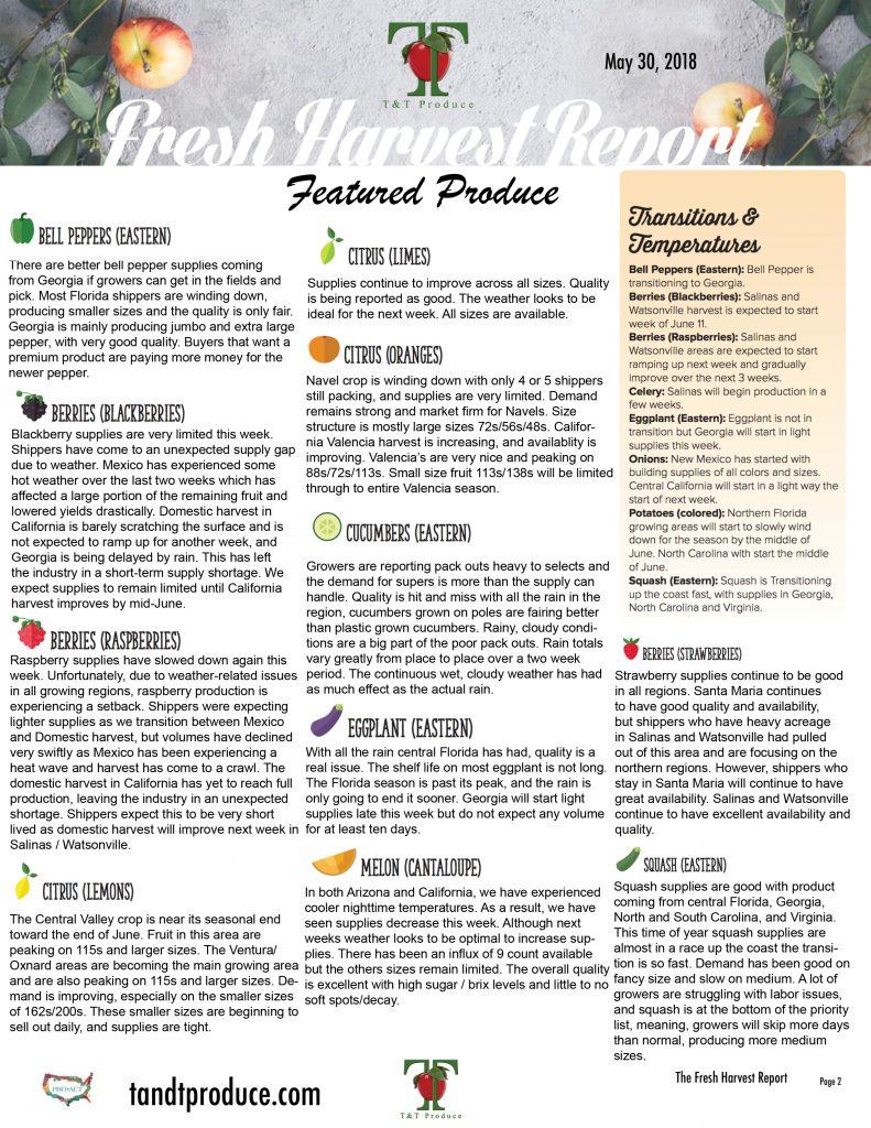 5/30/18 Fresh Harvest Report