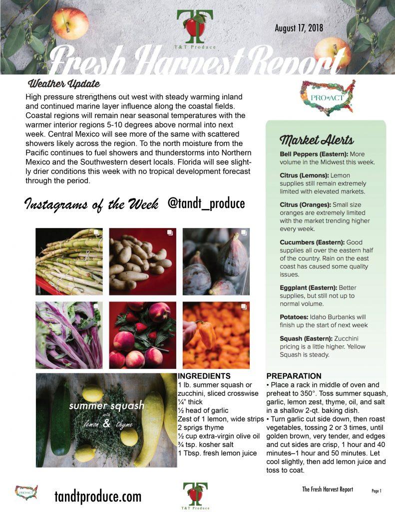 8/17/18 Fresh Harvest Report