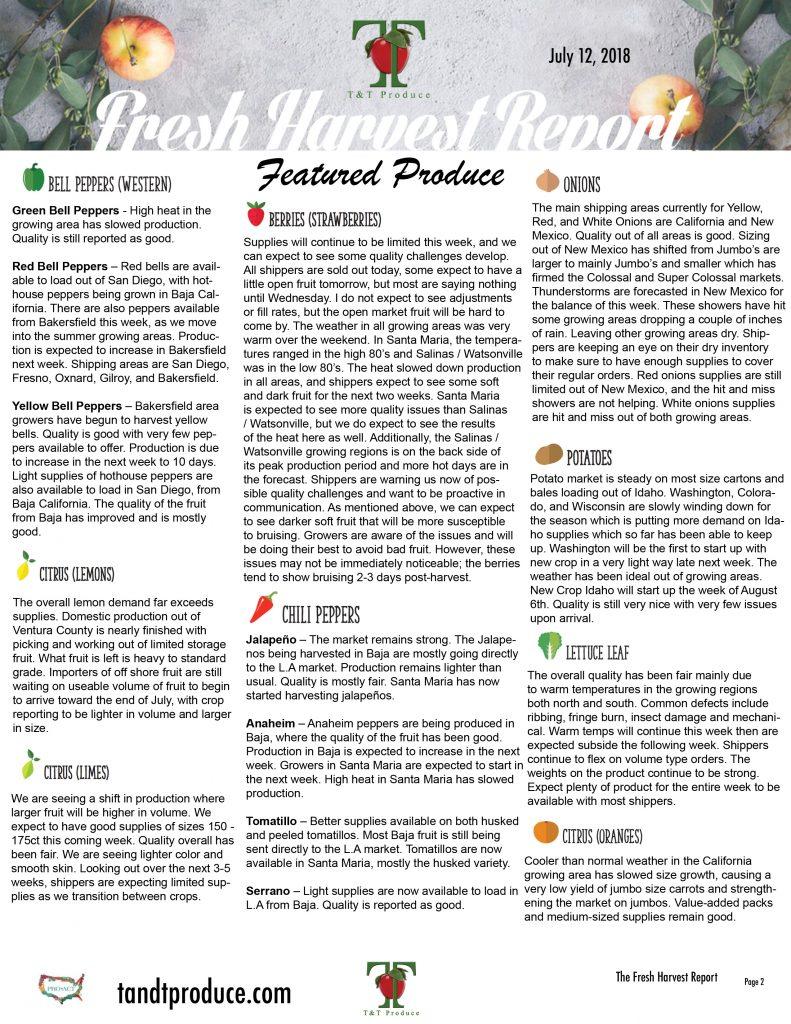 7/12/18 Fresh Harvest Report