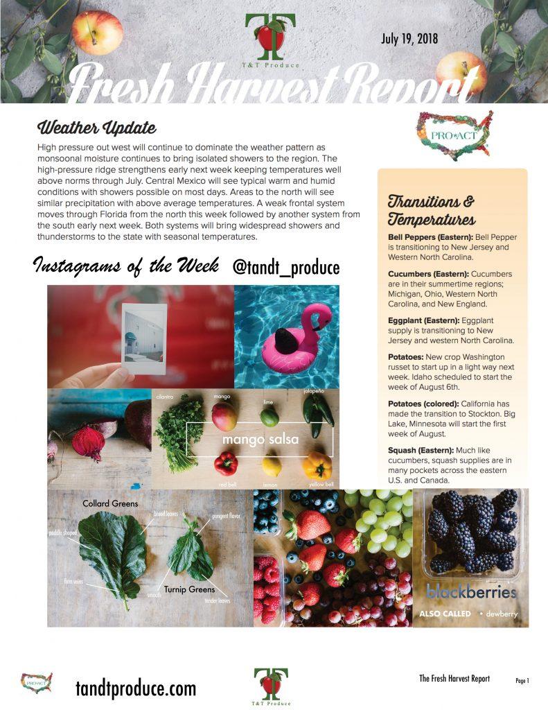7/19/18 Fresh Harvest Report