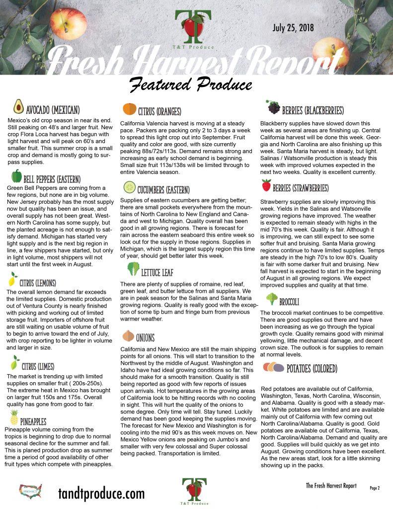 7/25/18 Fresh Harvest Report