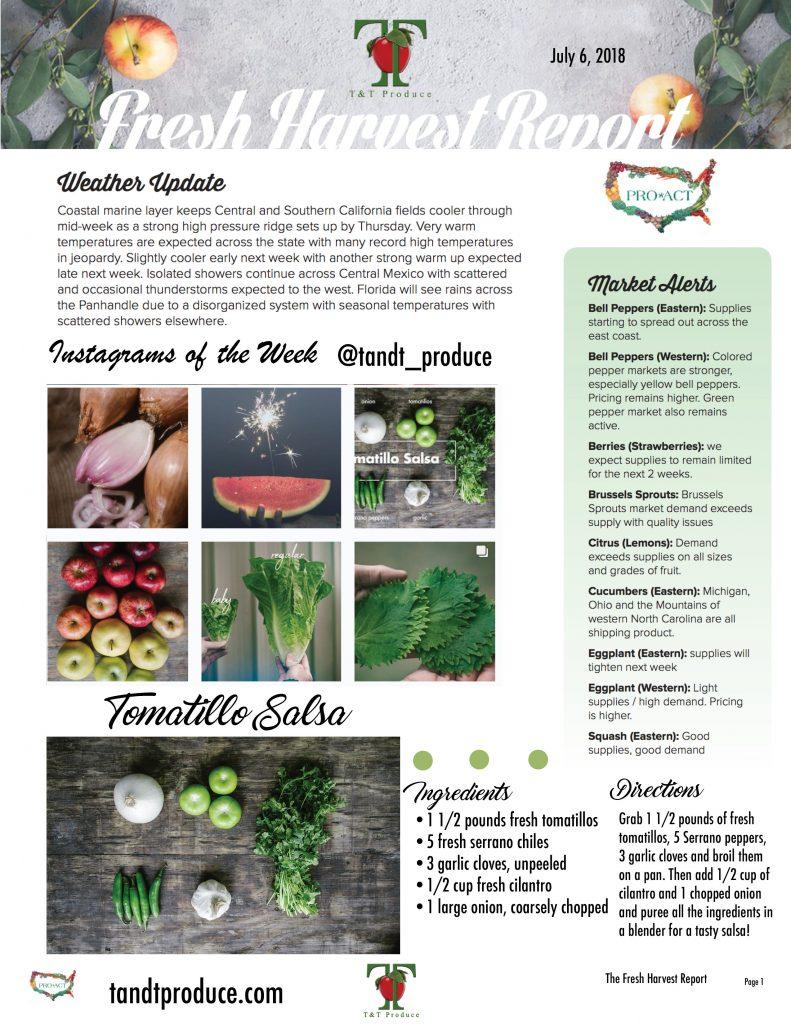 7/06/18 Fresh Harvest Report