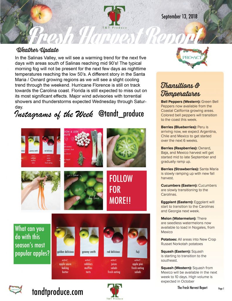 09/13/18 Fresh Harvest Report