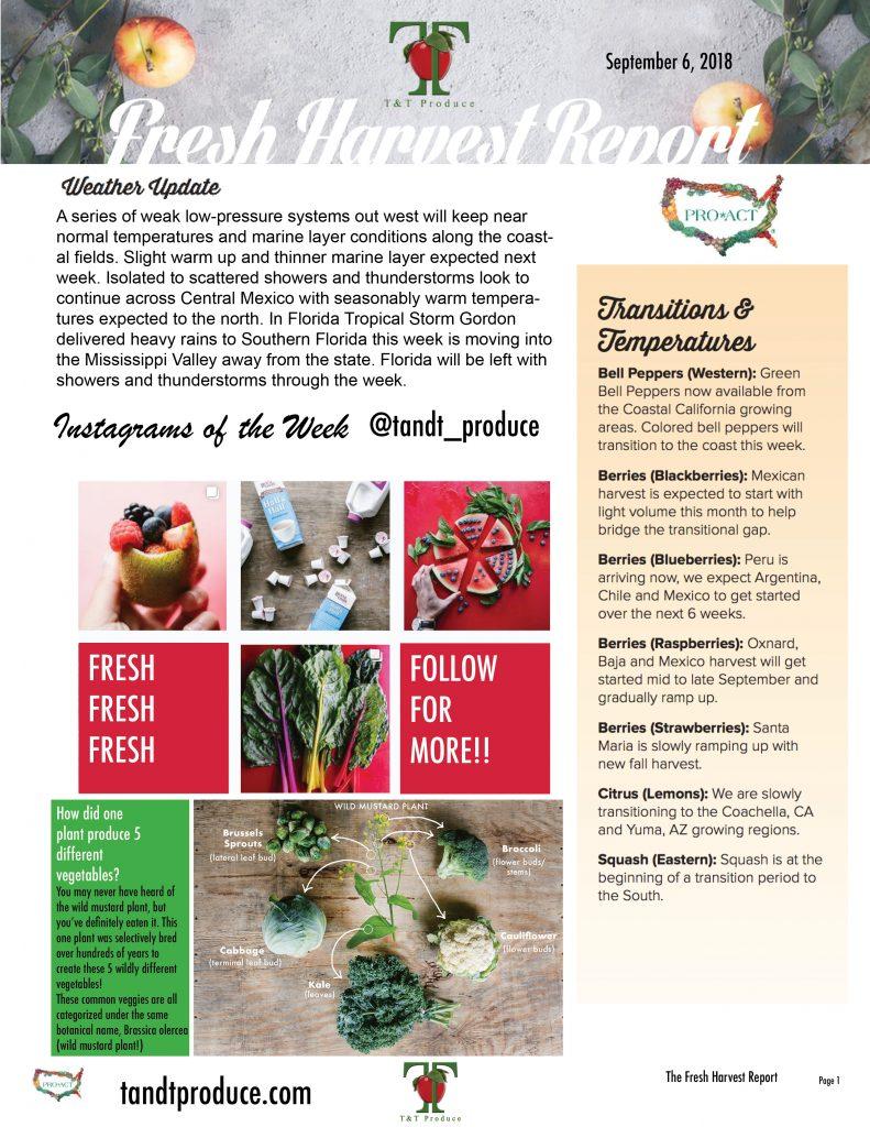 9/06/18 Fresh Harvest Report