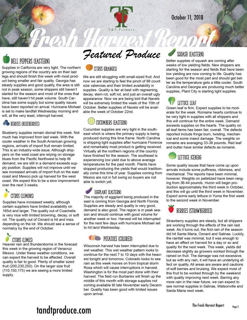 10/1/18 Fresh Harvest Report