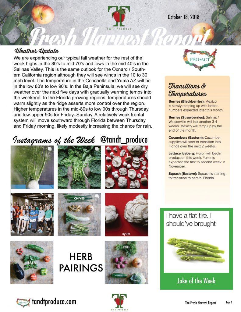 10/18/18 Fresh Harvest Report