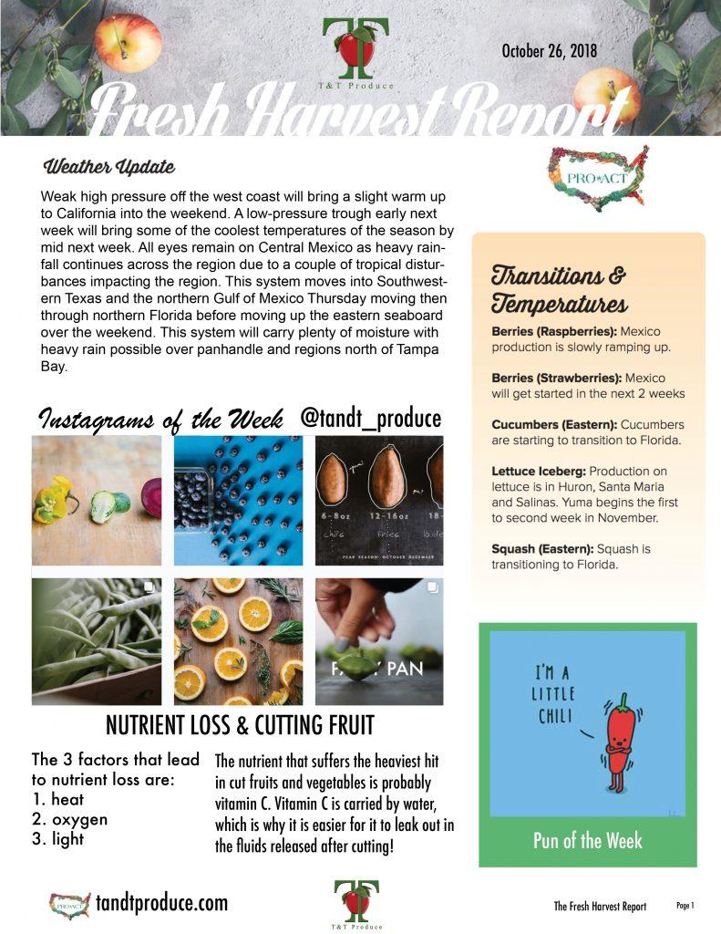 10/26/18 Fresh Harvest Report