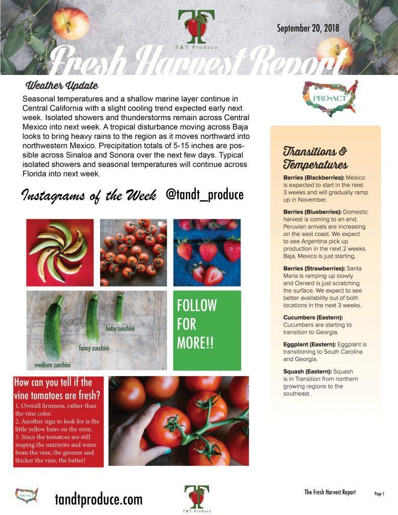 09/20/18 Fresh Harvest Report