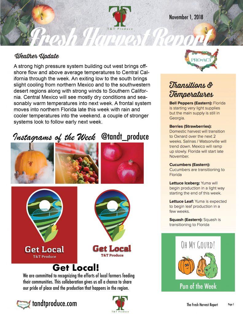 11/1/18 Fresh Harvest Report