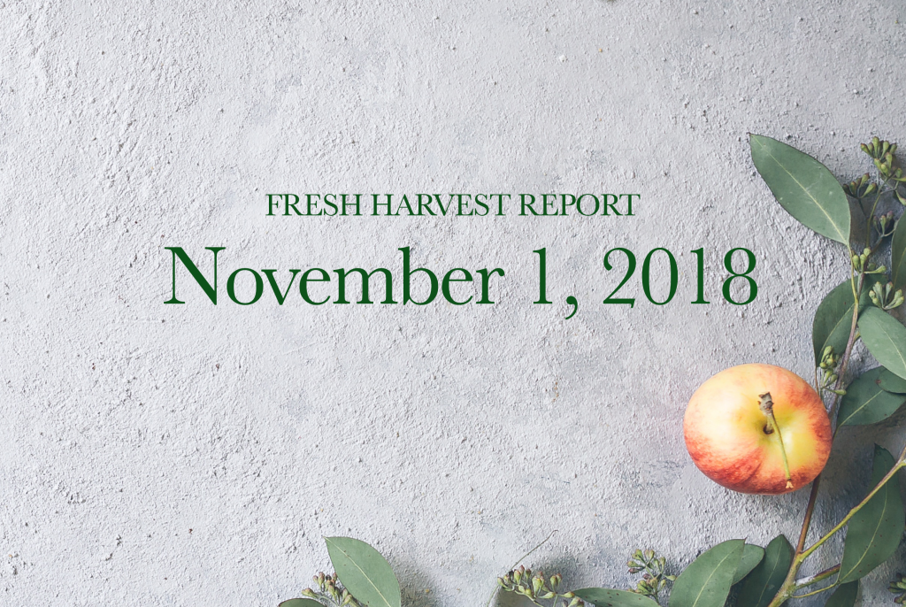 11/1/18 Fresh Harvest Report