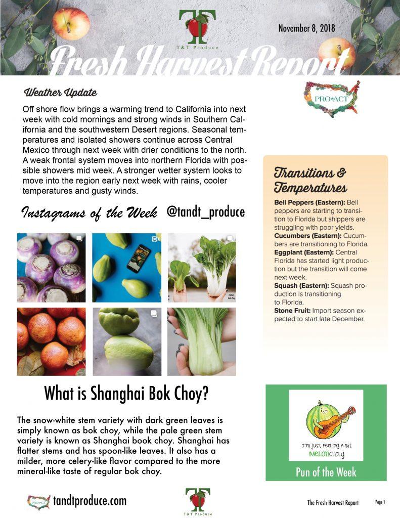 11/8/18 Fresh Harvest Report
