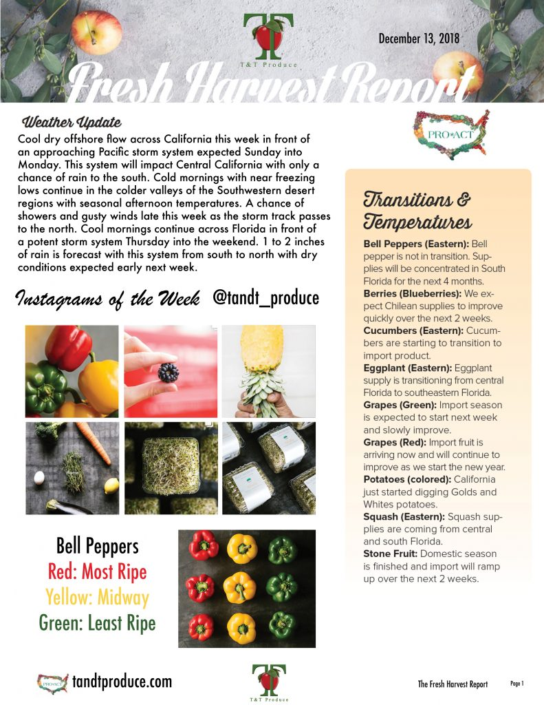 12/13/18 Fresh Harvest Report