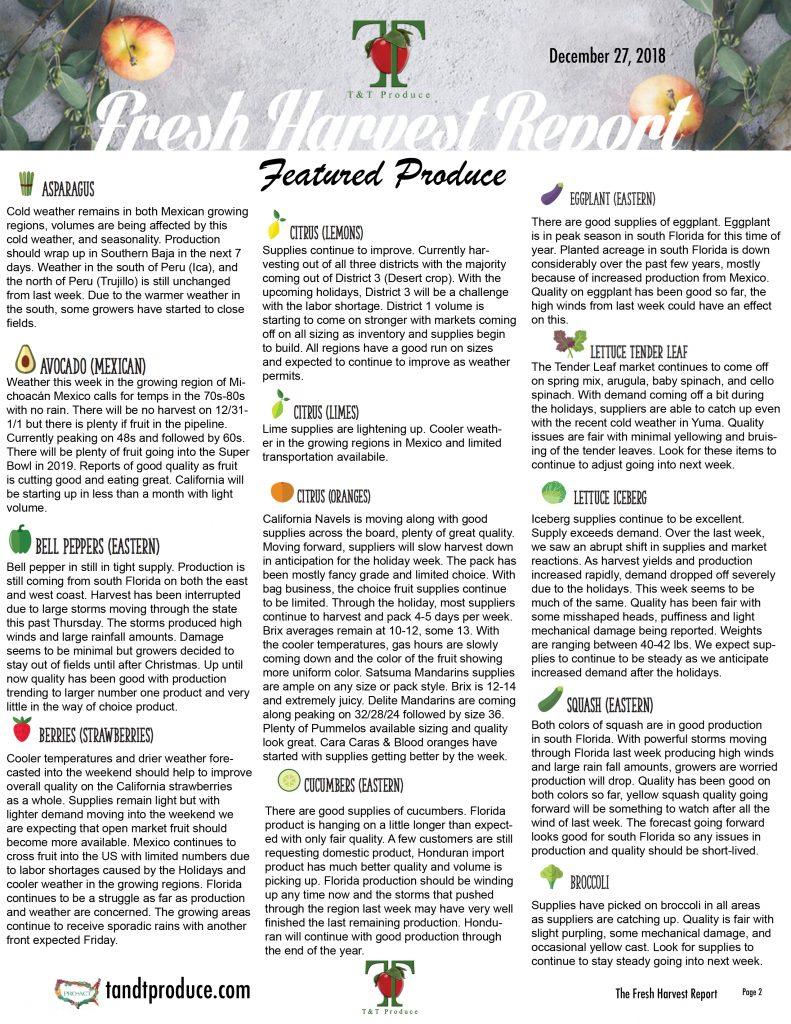 12/27/18 Fresh Harvest Report