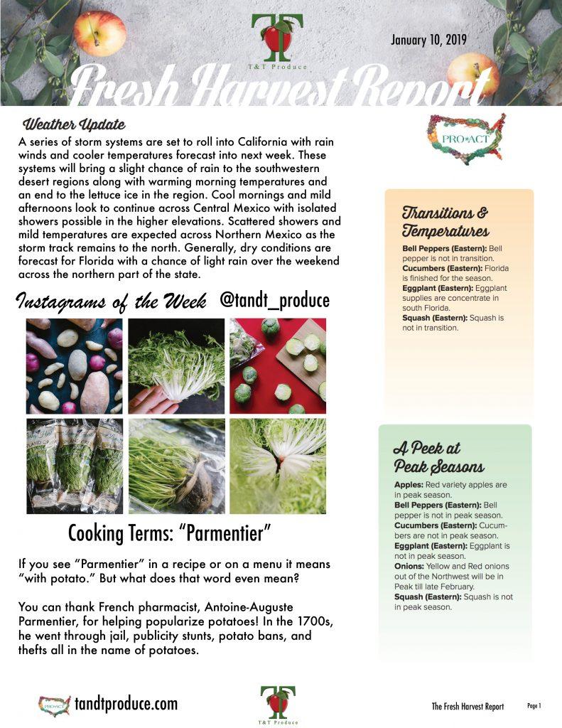 1/10/18 Fresh Harvest Report