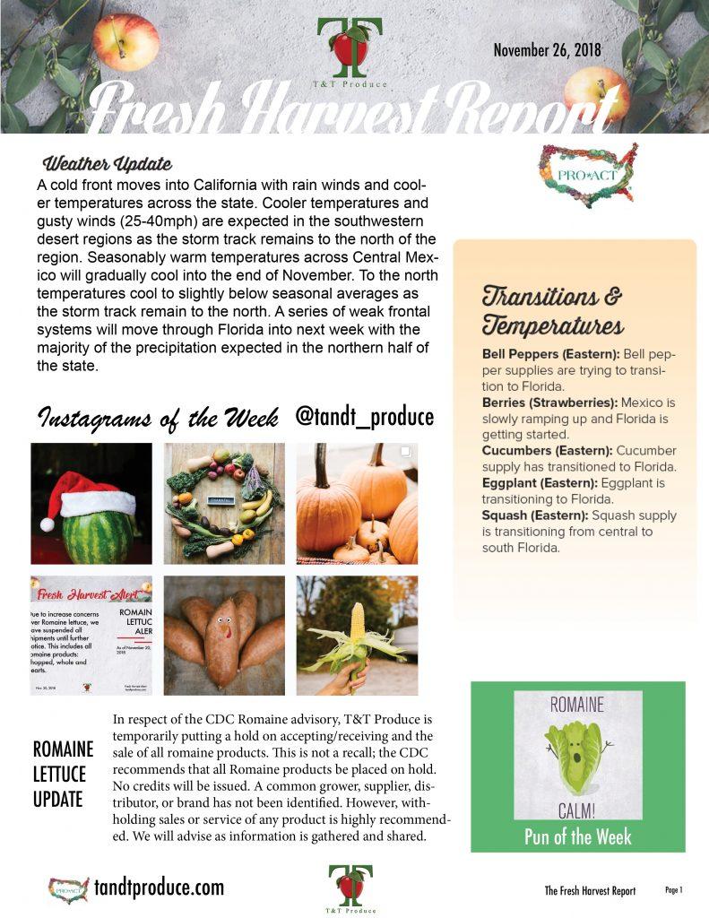 11/26/18 Fresh Harvest Report