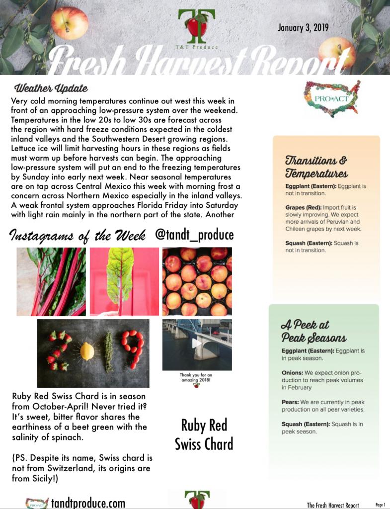 1/3/18 Fresh Harvest Report