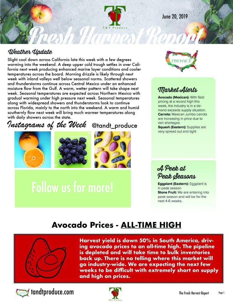 6/20/19 Fresh Harvest Report