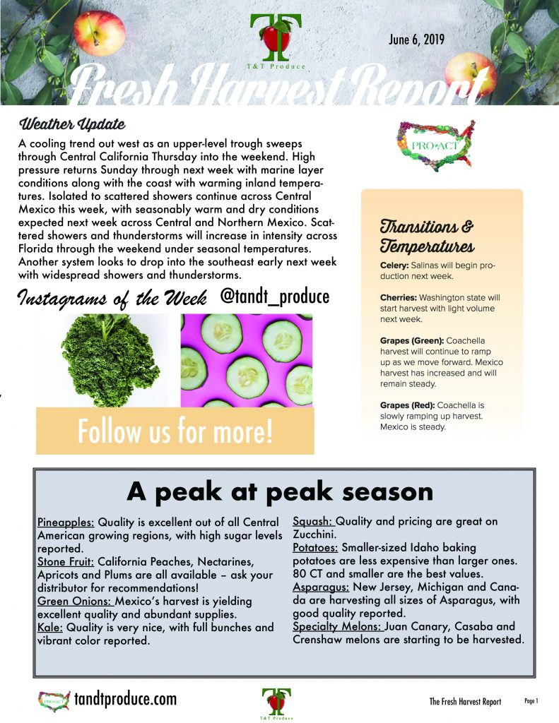 6/6/19 Fresh Harvest Report