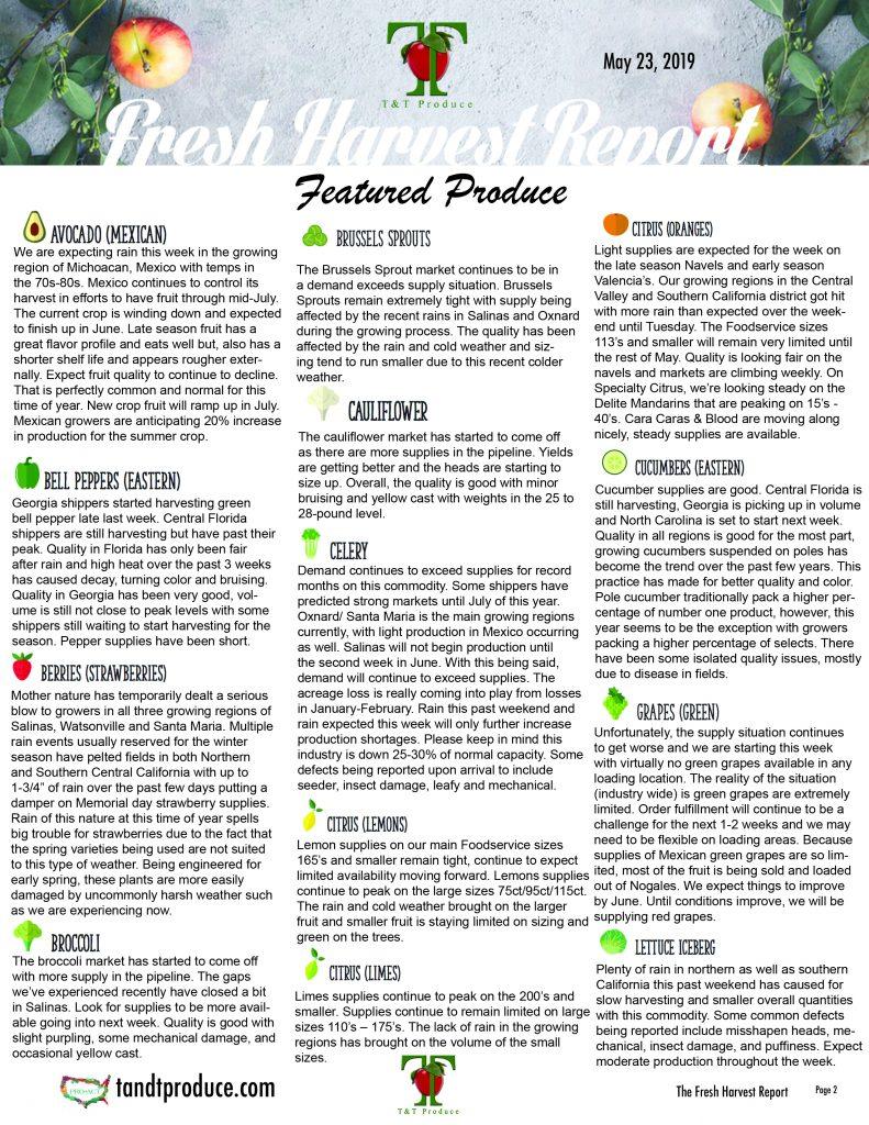 5/23/19 Fresh Harvest Report